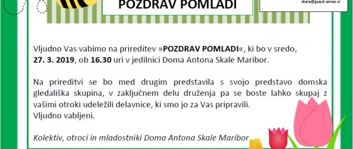VABILO NA PRIREDITEV POZDRAV POMLADI