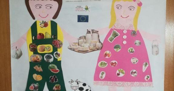 Plakat sheme šolskega mleka in mlečnih izdelkov ter šolskega sadja in zelenjave